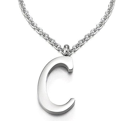 COOLSTEELANDBEYOND Name Initiale Alphabet Buchstaben C Anhänger Edelstah Halskette für Damen Herren Farbe Silber mit 50cm Stahl Seil-Kette