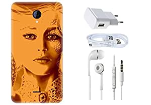 Spygen Micromax A106 Unite Combo of Premium Quality Designer Printed 3D Lightweight Slim Matte Finish Hard Case Back Cover + Charger Adapter + High Speed Data Cable + Premium Quality Handfree
