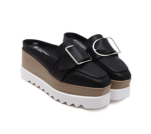 Xing Lin Ladies Sandals Summer New High-Heeled Half-Flip Sandals Half-Length Shoes Casual Shoes A Pedal Baotou Slippers black