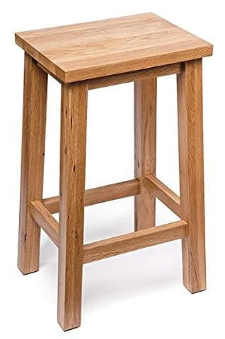 Camberley Oak Breakfast Bar Stool with Light Oak Finish 60cm High | Wooden Kitchen Seat Suitable for Breakfast Bar