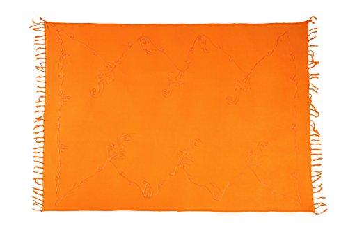 Premium Sarong Pareo Wickelrock Strandtuch Lunghi Dhoti Schlicht Blickdicht Tolle Stickere Orange + Schnalle