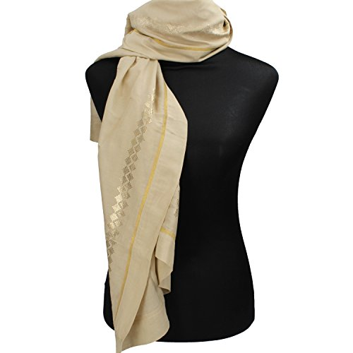 NALì sciarpa stola donna beige cotone oro seta AF456