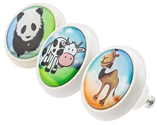 Designer Möbelknopf Set 0213 Tiere Kuh Kamel Panda 3er Keramik mit moderner kuppelförmiger Oberfläche in glänzender edler Glas Optik in verschiedenen Designs und Farben Möbelknöpfe - Swami Designer Factory Farbe Astrologie