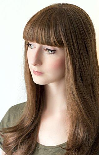 Prettyland C309 - 60cm largo Sleekhaare marrón peluca