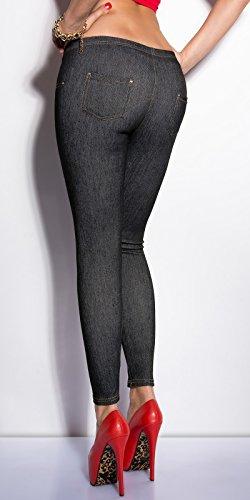 KouCla - Legging - Femme taille unique Jeansschwarz