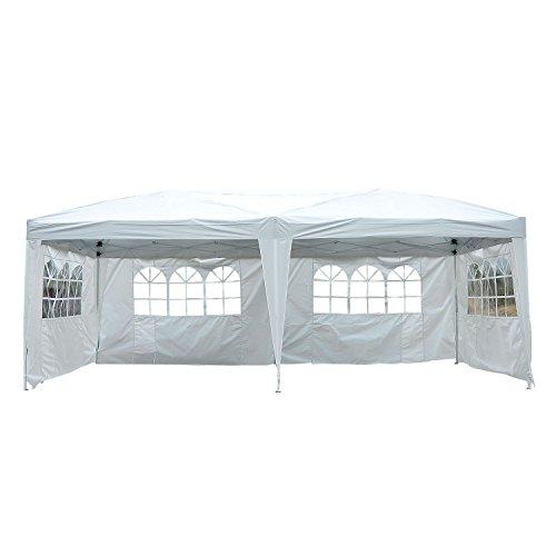 Outsunny® 3x 6m padiglione gazebo pieghevole tenda pieghevole party tenda tende su 4lati da giardino bianco