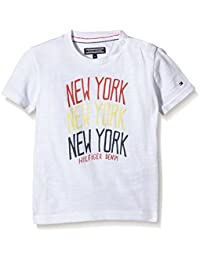 TOMMY HILFIGER KIDS - New York Cn Tee S/S, Camisa De Pijama de niños, blanco, 8