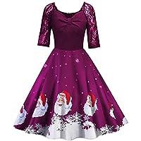 tohole Damen Vintage Ärmellos Print Weihnachtsfeier Swing Dress Rockabilly Kleid äRmellos Festlich Ballkleid