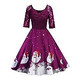 IZHH Damen Vintage Kleider Weihnachten Frauen Geschenk Spitze Halbe Hülse Patchwork Druck Vintage Kleid Party Kleid Retro Dressoutdoor Club Karneval Thanksgiving Kleid(Lila,Large)