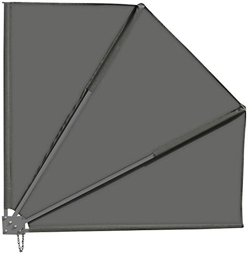 Royal Gardineer Balkonfächer: Sichtschutz-Fächer für Balkon, 140 x 140 cm, anthrazit (Sonnenfächer)