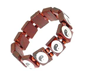 Élastique en bois de Yin Yang Bracelet extensible