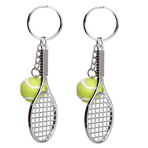 Schlüsselanhänger Metall Tennis Schläger Schlüsselring Keychain Tennisball 2 PCS