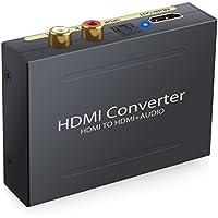 Convertisseur HDMI vers HDMI Extractor Audio Vidéo SPDIF OPTIQUE 5.1CH RCA 2.1CH PASS Compatible 3D idéal pour Apple TV Lecteur Blu-ray Xbox Décodeurs TV Amplificateur