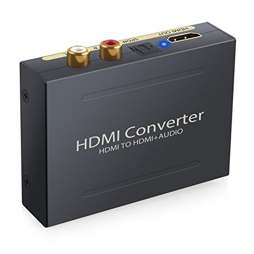 ESYNiC Digital Audio Konverter HDMI zu HDMI SPDIF Toslink 5.1CH Audio 2.1CH RCA Analog L R Video Extractor Digital Analog Wandler mit USB Kabel unterstützt 1080P für Apple TV Blu-ray DVD-Player Xbox One Sky HD Box (NICHT für 4K Geräte) - Schwarz
