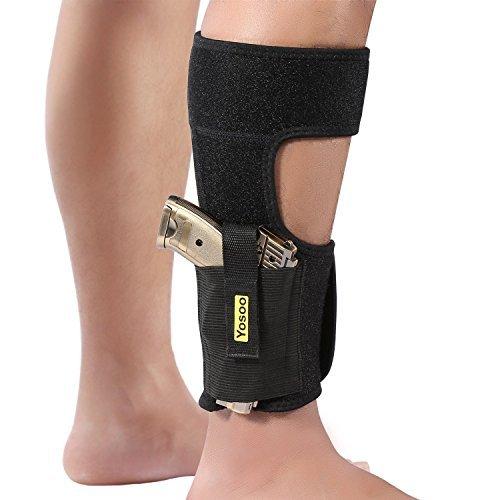 Knöchel Holster für Verdeckte Carry Neopren Elastische Gürtelholster mit Magazintaschen für Kleine Rahmen Pistole Handgun von Yosoo, passt Männer Frauen, Schwarz -