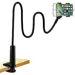 LONZOTH Support de Tablette et Smartphone Pliable, Support réglable en col-de-Cygne Stand avec Bras Extensible pour téléphone (Phone Holder|Black)