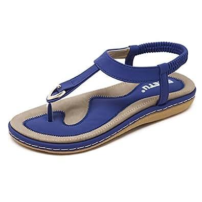 Vdual Damen Sandalen Flip Flops Sommer Sandals Flach T-Strap Offen Böhmische Strand Schuhe 9VexS