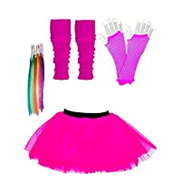 Just For Fun Girls Tutu Skirt Set with Leg Warmers Gloves & Hair Extensions - Age 4 to 12 years