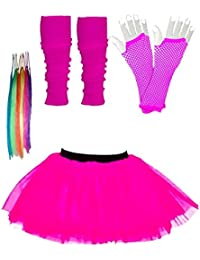 Girls Tutu Skirt Set with Leg Warmers Gloves & Hair Extensions - Age 4 to 12 years