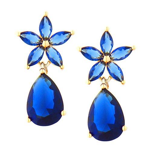 16 - TEMPUS FUGIT. Pendientes Flor de Primavera. Diseño de joyería clásica. Con cristales de colores brillantes. Incluye una caja para regalo
