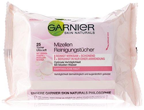 Garnier Mizellen Reinigungstücher, reinigen wirksam und schonend und beruhigen in nur einer Anwendung, für empfindliche Haut, 2er-Pack (2 x 25 Stück)