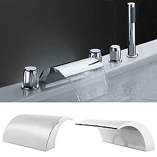 414ekJeMdDL. SS324  - Bañera grifo de bañera cascada para bañera de alta presión con alcachofa Color profesional ABS de latón