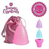 Femme Essentials Cup menstruelle | Coupe menstruelle, discrète et hygiénique | en silicone médical et sac de rangement en satin | Rose (S)