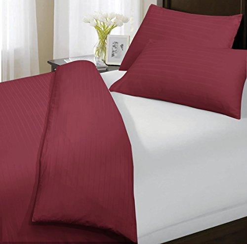 Sunshine Komfort Luxus 100% Streifen TC200Ägyptische Baumwolle Bettbezug Kissen KING: Rot -