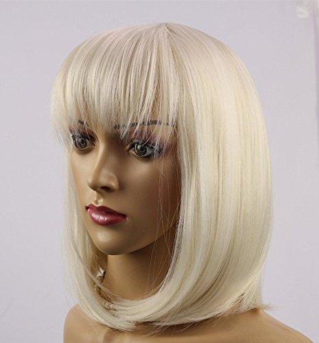 30,5 cm Blond décoloré couleur Bob style perruque intégrale pour filles Blanc, Fun Fashion Style résistant à la chaleur tête complète Bob perruque