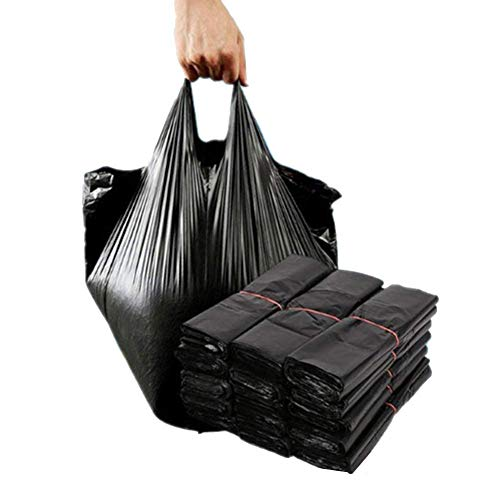 VANTIYA Sacchi della Spazzatura Nero (100pcs) USA e Getta Pannolini, Borsa con Pratica Maniglia Fascette immondizia, USA e Getta, Durevole Trash Bag