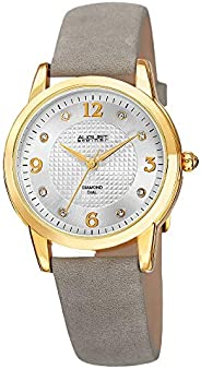 August Steiner Women's AS8198WTG Yellow Gold Quartz Watch with White Dial and Gray Suede Leather S