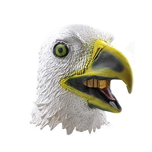 Kostüm Maske White Masquerade - Halloween Latex Maske Lustige Adler Volles Gesicht Maske Tierkopf Cosplay Neuheit Masquerade Kostüm Partei Requisiten Rolle Spiel Spielzeug Für Erwachsene,White