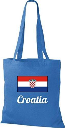 ShirtInStyle Stoffbeutel Baumwolltasche Länderjute Croatia Kroatien Farbe Pink royal