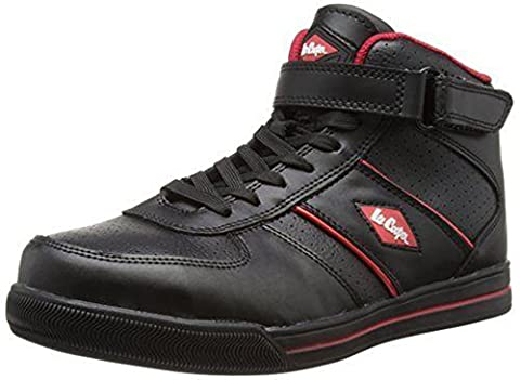 Lee Cooper Mens Safety Lightweight Boot Trainer Steel Toe Cap & Sole Penetration Plate Work Slip Resistant Padded Ankle Collar Design For Wearer Comfort Shoe Branded Unisex Footwear Protection Midsole Workwear Work Walking Suitable For All Uses Stylish Attractive & Fashionable Design Comfortable Leather LCSHOE033 Black UK 10