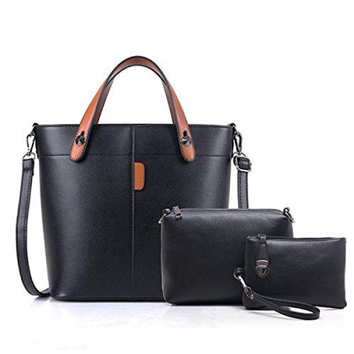 FZHLY 2017 Nuovo Femminile Di Fascia Alta Signore Di Modo Tre Pezzi Shoulder Bag Messenger,Brown Black