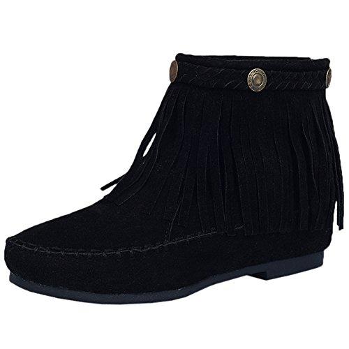 Bottines De BIGTREE Femme Mode Glands Respirant Confortable Casual Fermeture éclair Bottes Courtes Noir