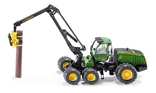 SIKU 4059, John Deere Harvester Holzvollernter, 1:32, Metall/Kunststoff, Grün, Flexibel drehbarer Arm, Inkl. 4 Kunststoff-Holzstämmen -