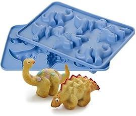 "Silikon-Kuchenform ""Dinosaurier"", 6 lustige Dinosaurier-Motive, 3D, 29 x 21 cm"