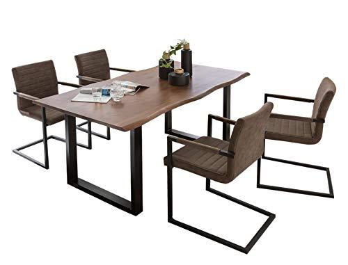 Essgruppe 5tlg. | Baumkante-Tisch 160x85 cm | Nussbaum-farbig | U-Gestell in Schwarz | 4 Stühle Alessia Buffalo Braun