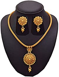 BFC- Spiral Flower Designer GOld Pendant Set For Woman And Girls With 18 Inches Gold Chain.