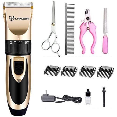 Hundepflege-Set, wiederaufladbare Cordless Pet Hair Clipper Kit für Hunde, Katzen und andere Tiere, geräuscharm und niedrige Vibration (Gold)