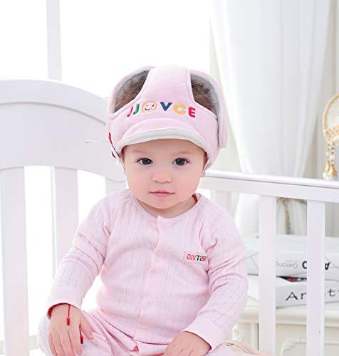 SLONG Baby Helm Weiche Baumwolle Verstellbare Baby-Sicherheits-Kopfschutz Verstellbare Kopf Baby-Schutzkappe 6-80 Monate,Pink