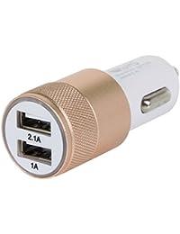 TRIXES Adaptateur Or et Noir à 2 Ports USB pour Chargeur Allume-Cigare de Voiture