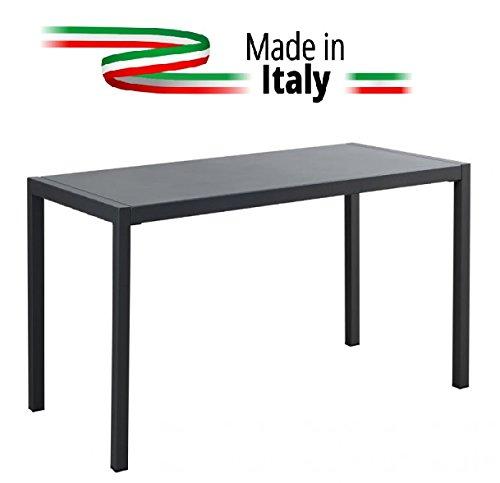 ALTIGASI Table pour extérieur QUATRIS 120 x 80 cm en Fer zingué et Verni à poussières - Gris Antique - N'arruginisce - Produit fabriqué en Italie