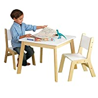 KidKraft 27025 Modern Table with 2 Chair Set, White and Natural
