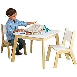 KidKraft 27025 Table en bois blanc moderne avec 2 chaises - Meubles pour chambre/pièce de jeu pour enfant