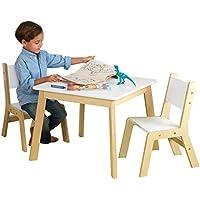 Preisvergleich für KidKraft 27025 Moderner Tisch mit 2 Stühlen aus Holz für Kinder in weiß - Kinderzimmer Möbel