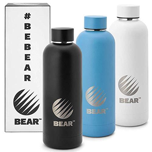 Bear Trinkflasche Edelstahl - 500ml Thermosflasche, doppelwandige Isolierflasche inkl. Tragetasche - Auslaufsicher, Kohlensäure geeignet, leicht (Weiß)