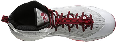 Adidas Performance D Rose 5 Boost scarpa da basket, Dark Base Verde, 11 M Us White/Scarlet/Grey/Black