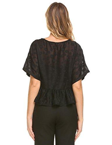 Coofandy Damen Shirt Polk Dots O-Ausschnitt Rüschen A-Line Blusen Kurz T-Shirt Schwarz